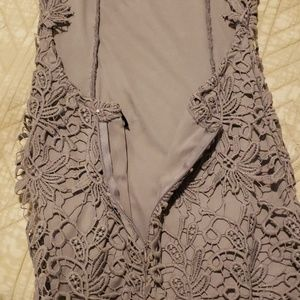 Lulu's Dresses - Gray lulus crochet dress